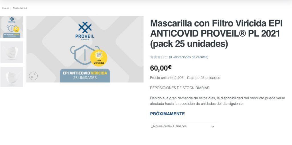 Mascarilla inactiva coronavirus
